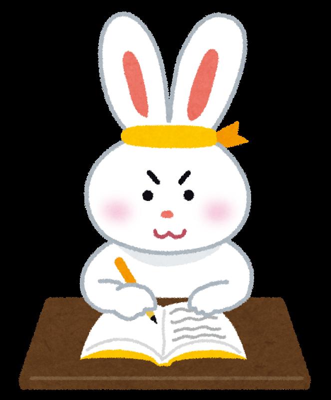 勉強するウサギ